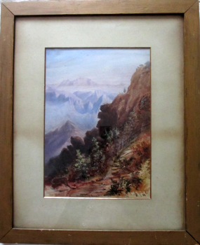 Near Arthurs Seat, Mahableshwar, April 12 1879, watercolour, signed initials H.J.W.