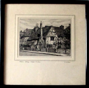 Milton's Cottage, Chalfont St. Giles, Engraving by T.S. Allan. Normill serial no. 2593. c1930.     SOLD 15.10.2017.