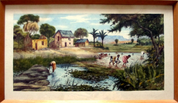 Replanting Rice in Malagasy Village Scene, watercolour on paper, signed A. Ramiandrasoa c1910.