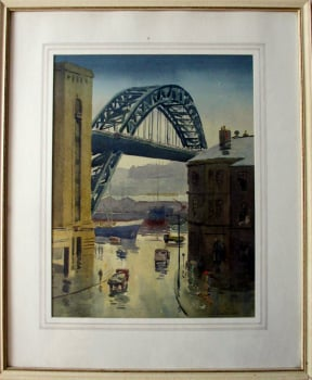 The Tyne Bridge, Quayside Newcastle, watercolour, signed Alan R. Cook. c1965.