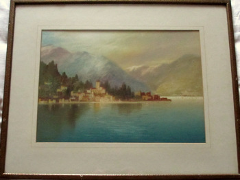 Near Dervio, Lake Como, watercolour and gouache, signed J. Shapland. c1900.  SOLD 16.06.2020.