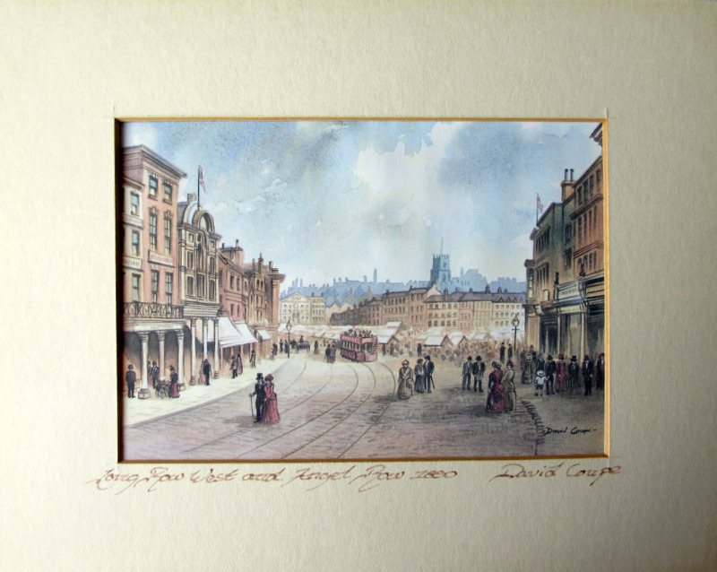 Towards The Old Market Square Nottingham, open-edition print from original watercolour signed David Coupe, c1990. Framed.