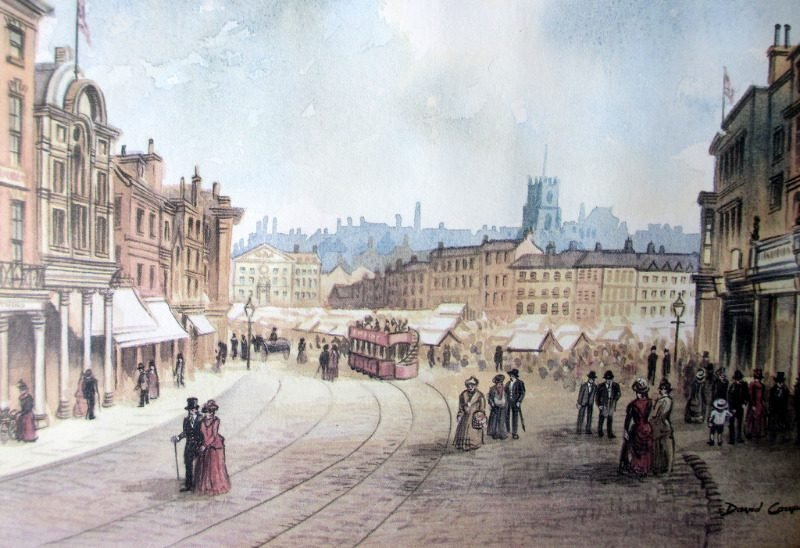 Towards The Old Market Square Nottingham, open-edition print from original watercolour signed David Coupe, c1990. Framed. Detail.