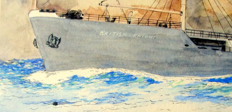 mv British Knight, watercolour, signed W. Hogdson. c1955. Detail.