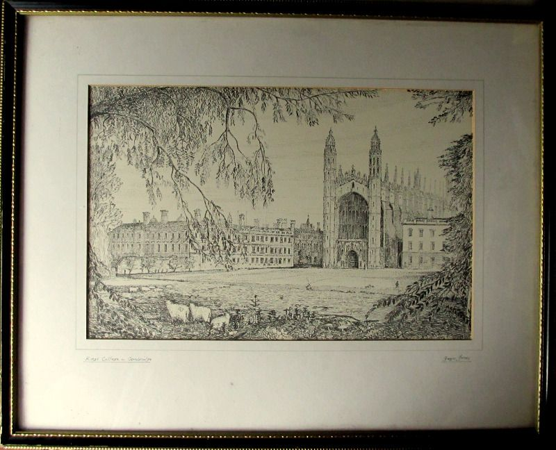 Kings College Cambridge, etching signed Gwyn Jones and initials GJ. c1930.