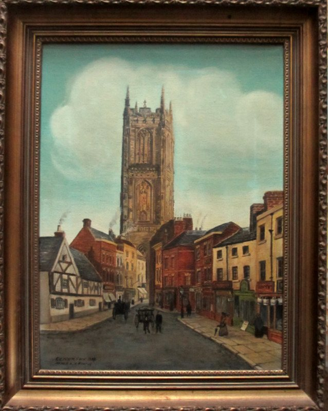 All Saints' Church Queen Street Derby oil on canvas signed Oliver Fox 1978. Detail.