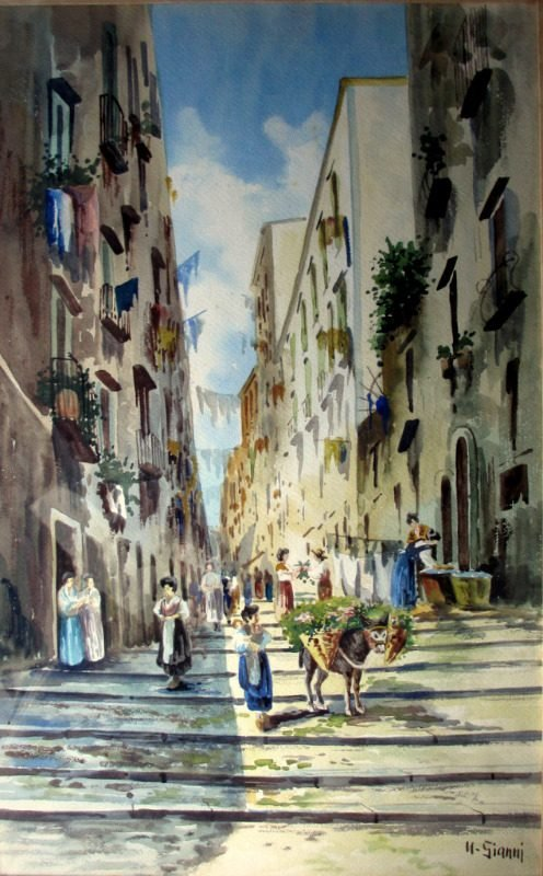 Neapolitan Street Scene with Donkey and Figures, watercolour, signed U. Gianni, c1890.