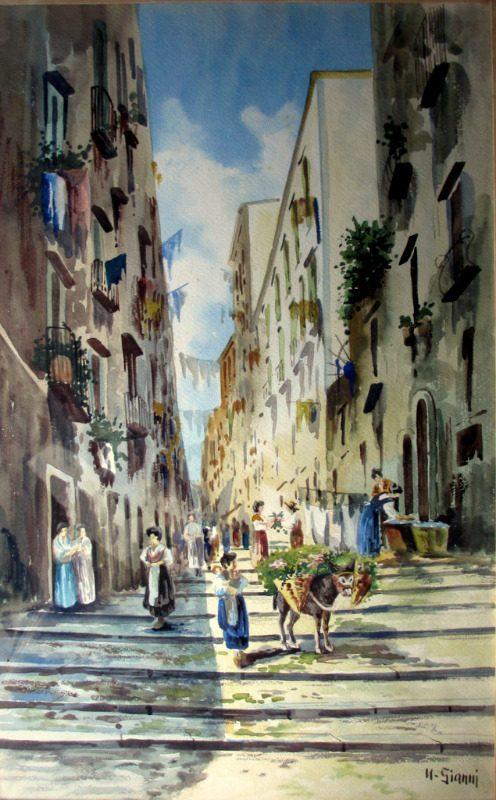 Neapolitan Street Scene with Donkey and Figures, watercolour, signed U. Gianni, c1890.