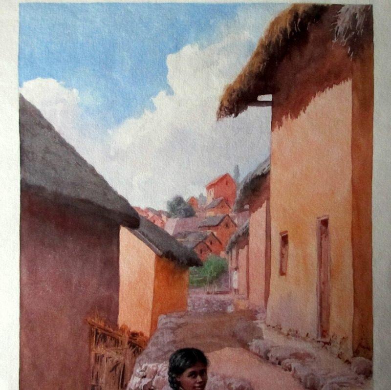 Mother and Child sitting outside Home in Fianarantsoa Madagascar, watercolour, signed E. Ralambo, c1910. Detail.