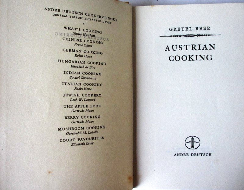 Austrian Cooking by Gretel Beer, Andre Deutsch 1954. 1st Edn. Detail.
