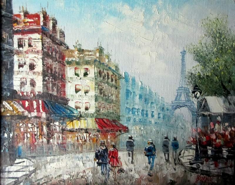 Parisian Street Scene towards Eiffel Tower, oil on board, signed Burnett. c1950.