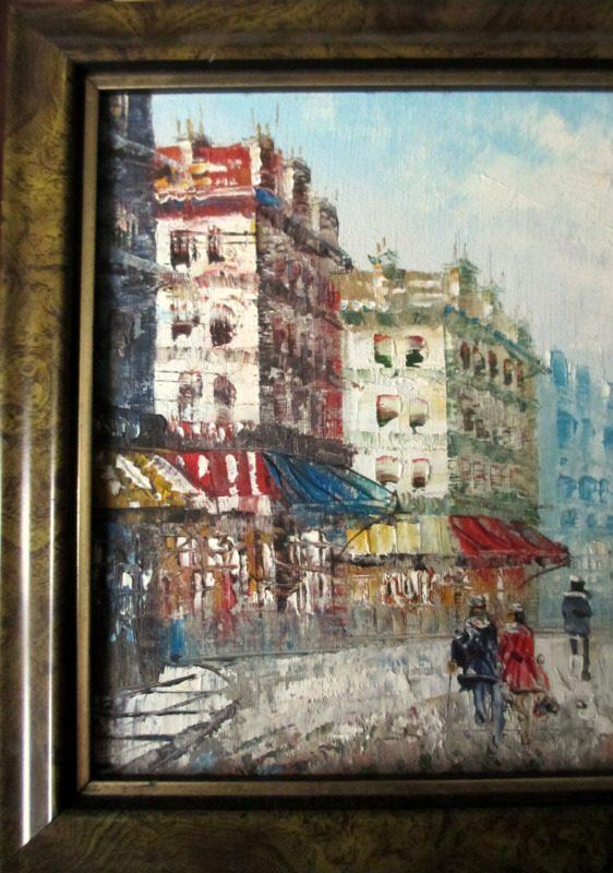 Parisian Street Scene towards Eiffel Tower, oil on board, signed Burnett. c1950. Detail.