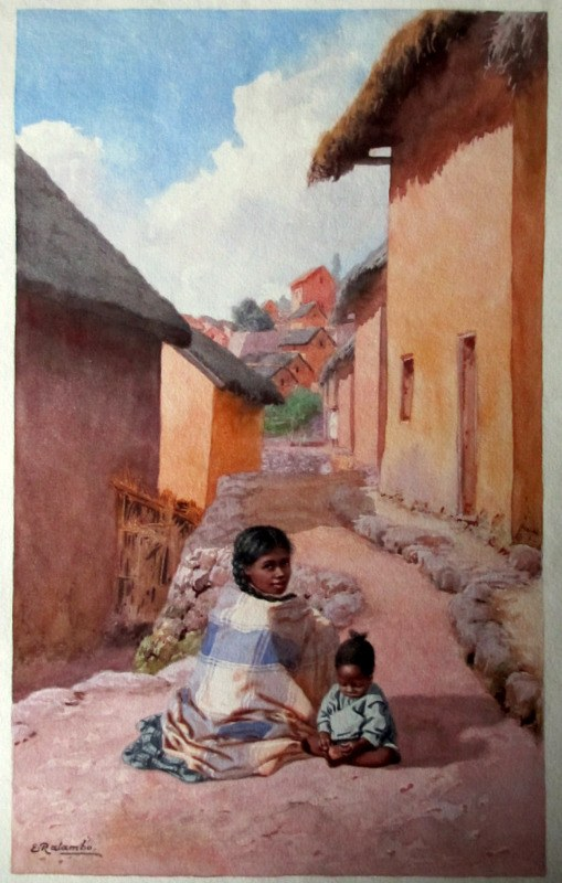 Mother and Child sitting outside Home in Fianarantsoa Madagascar, watercolour, signed E. Ralambo, c1910.