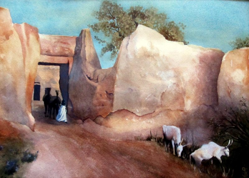 Kano Walls, with Camels, Figure and White Fulani cattle, watercolour and gouache, signed G. Thornton Smith, c1960.
