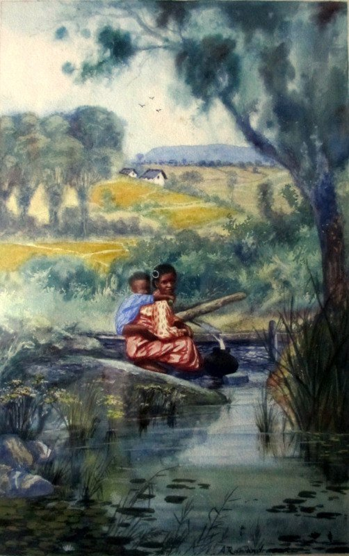 Mother and Child Collecting Water, watercolour, signed A. Ramiandrasoa, c1910. Framed. Detail.