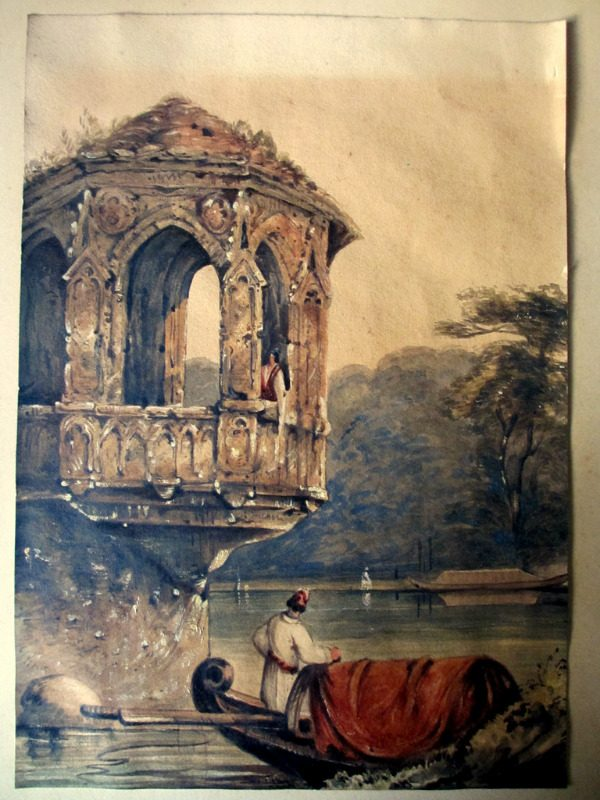 Venetian Lagoon Scene with Gondola and Figures, watercolour, indistinctly signed, dated 1853. Unframed.