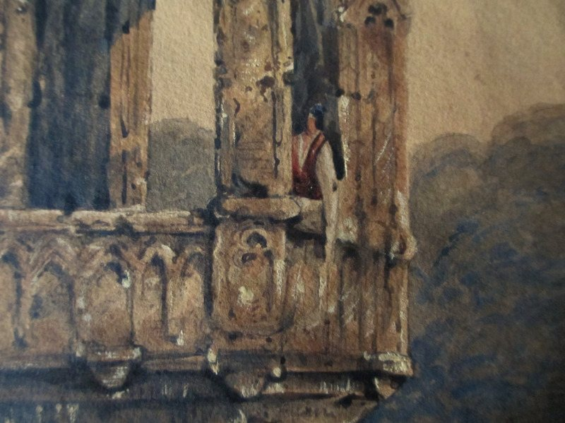Venetian Lagoon Scene with Gondola and Figures, watercolour, indistinctly signed, dated 1853. Unframed. Detail.