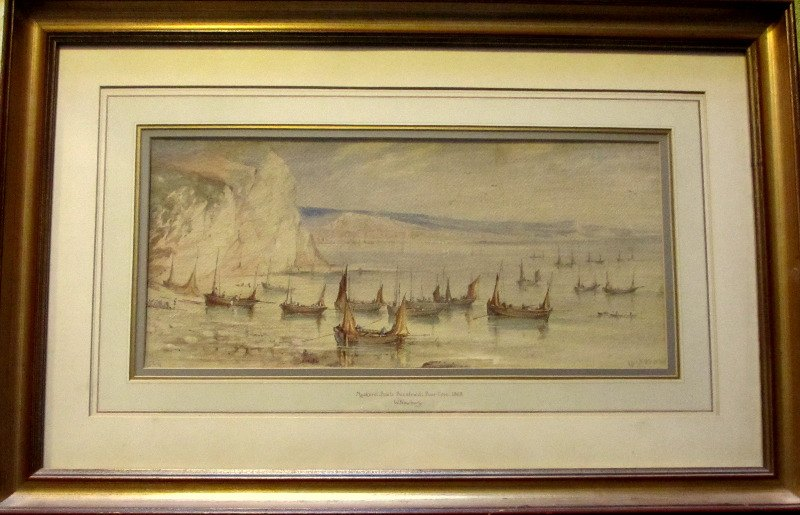 Mackerel Boats Becalmed, Beer Cove, watercolour, signed  W. Newbury 1869.