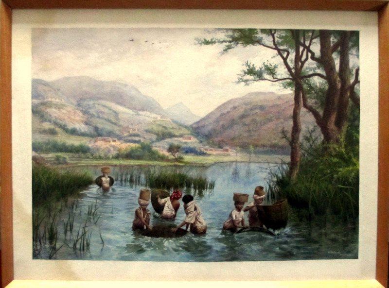 Women Fishing Near Fianarantsoa Madagascar, watercolour, signed E. Rolambo, titled Fianarantsoa, c1910.
