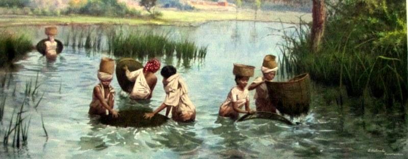 Women Fishing Near Fianarantsoa Madagascar, watercolour, signed E. Rolambo, titled Fianarantsoa, c1910. Detail.