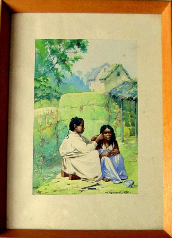 Women Braiding Hair in Malagasy Village, watercolour, signed, A. Ramiandrasoa, c1910. Framed.