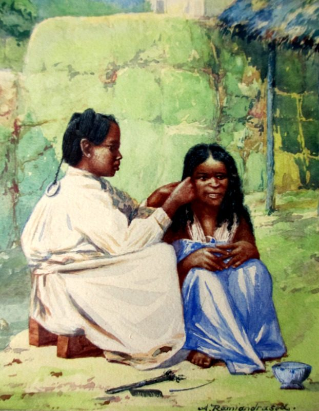 Women Braiding Hair in Malagasy Village, watercolour, signed, A. Ramiandrasoa, c1910. Framed. Detail.