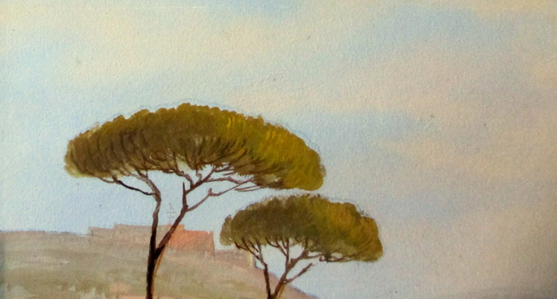 Bay of Naples with Vesuvius, gouache on paper, unsigned. c1900. Detail.