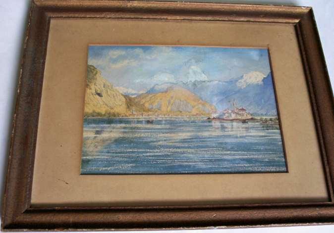Italian Lake Scene, Isola Pescatore, Lago Maggiore, watercolour, 19thC, Unknown.