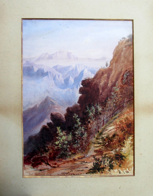 Near Arthurs Seat, watercolour, signed H.J.W. 1879.