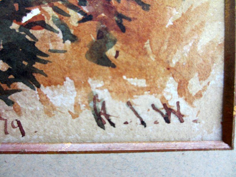 Arthurs Seat Mahableshwar, watercolour, signed initials H.I.W. April 12 1879. Signature.