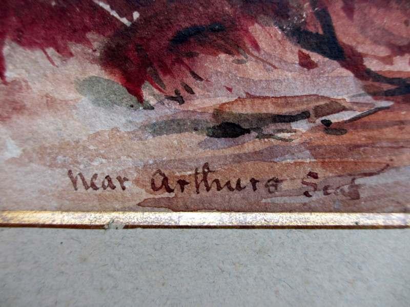 Near Arthurs Seat, watercolour, signed H.J.W. 1879. Detail. Title.