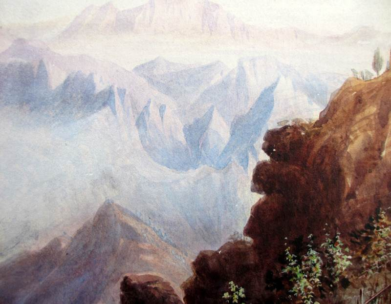 Near Arthurs Seat, watercolour, signed H.J.W. 1879. Detail.