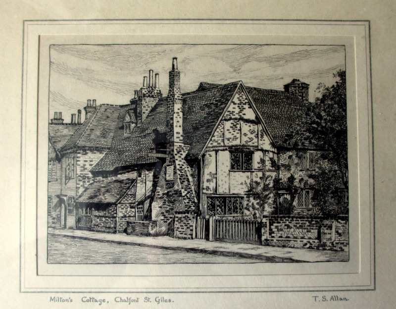 Milton's Cottage, Chalfont St. Giles, lithograph from original engraving by Thomas S. Allan. c1930.