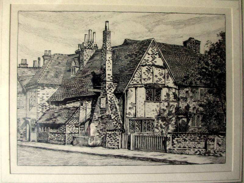 Milton's Cottage, Chalfont St. Giles, lithograph from original engraving by Thomas S. Allan. c1930. Detail.