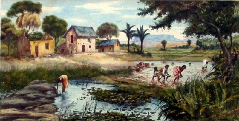 Replanting Rice in Malagasy Village Scene, watercolour, signed A. Ramiandrasoa c1910.