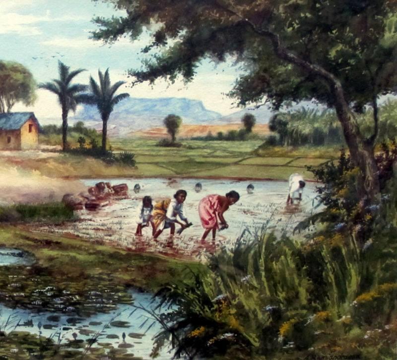 Replanting Rice in Malagasy Village Scene, watercolour, signed A. Ramiandrasoa c1910. Detail.