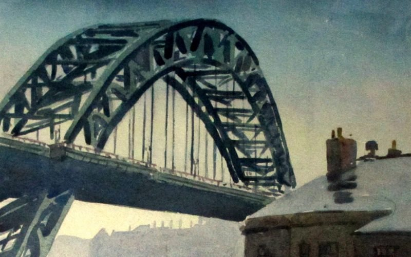 The Tyne Bridge, Quayside, Newcastle, watercolour, signed Alan R. Cook, c1965. Detail.
