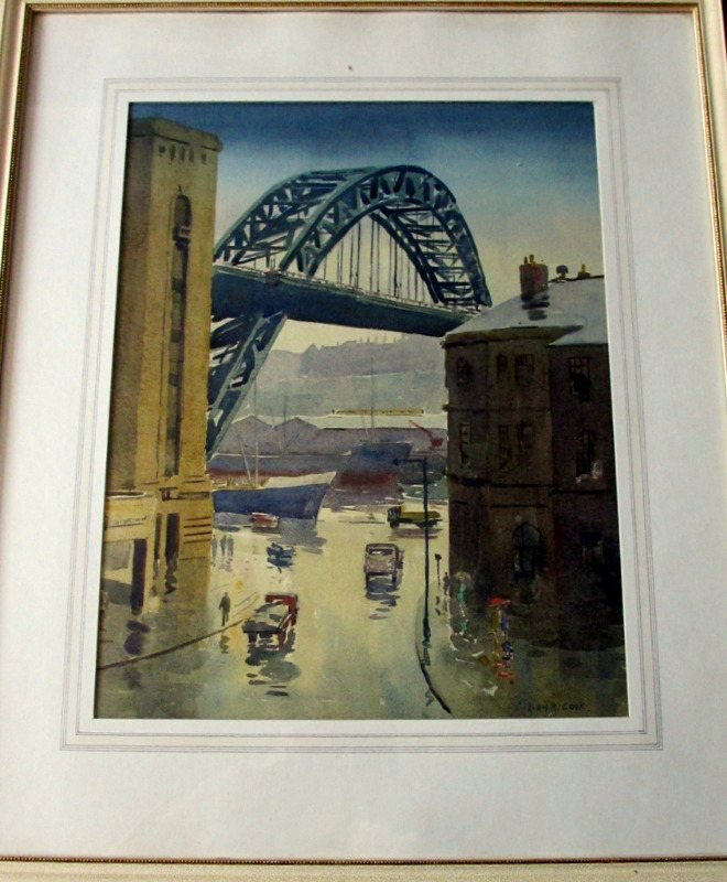 The Tyne Bridge, Quayside, Newcastle, watercolour, signed Alan R. Cook, c1965.