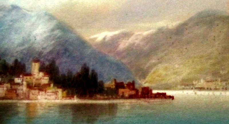 Near Dervio, Lake Como, watercolour and gouache, signed J. Shapland. c1900. Detail.