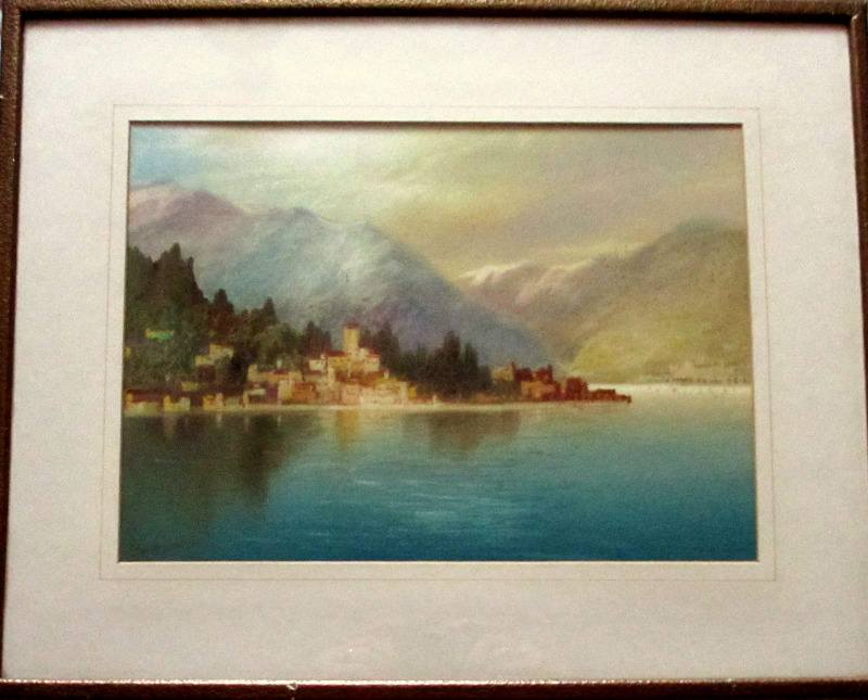 Near Dervio, Lake Como, watercolour and gouache, signed J. Shapland. c1900.