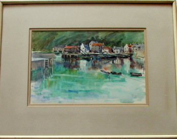 Scottish Harbour Study, watercolour, signed monogram MPT 1935. Framed.