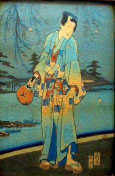 Ukiyo-e, Genji and Women Catching Fireflies, woodblock print, Toyohara Kunichika 1861.