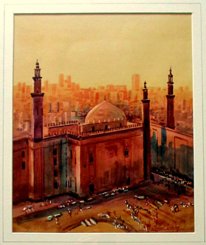 Sultan Hassan Mosque, Cairo, Egypt,  watercolour signed Michael Crawley. c1
