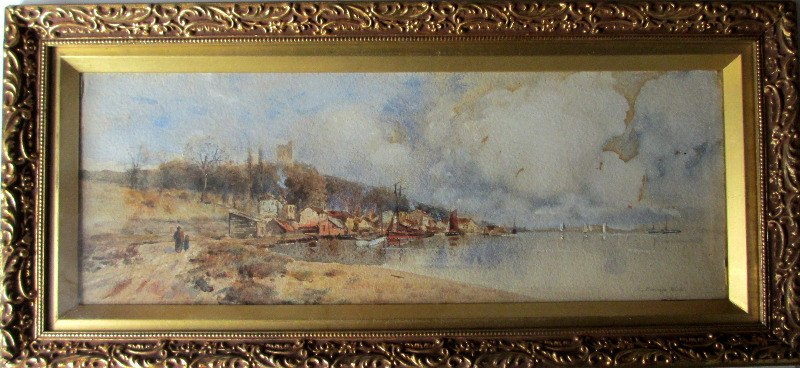 Westcliffe Essex, watercolour + gouache, signed L. Burleigh Bruhl c1900.