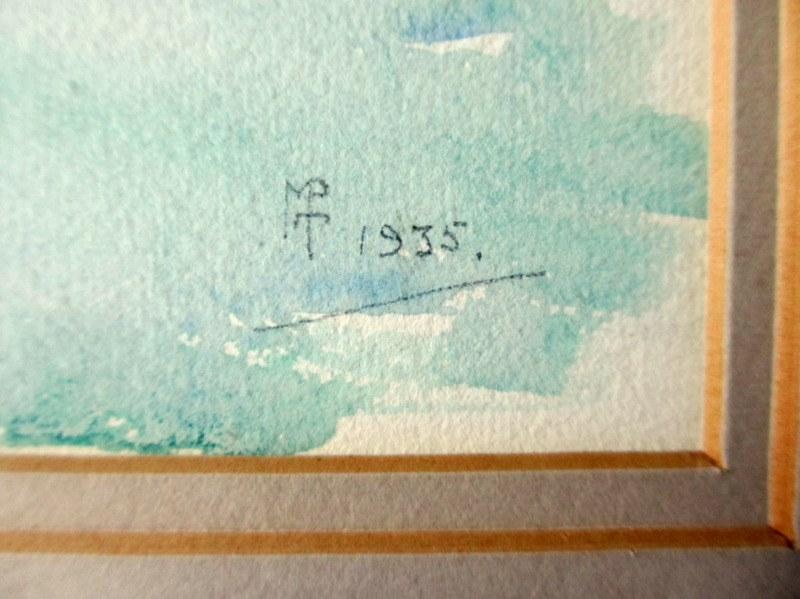Scottish Harbour Study, watercolour, signed monogram MPT 1935. Detail. Monogram and date.