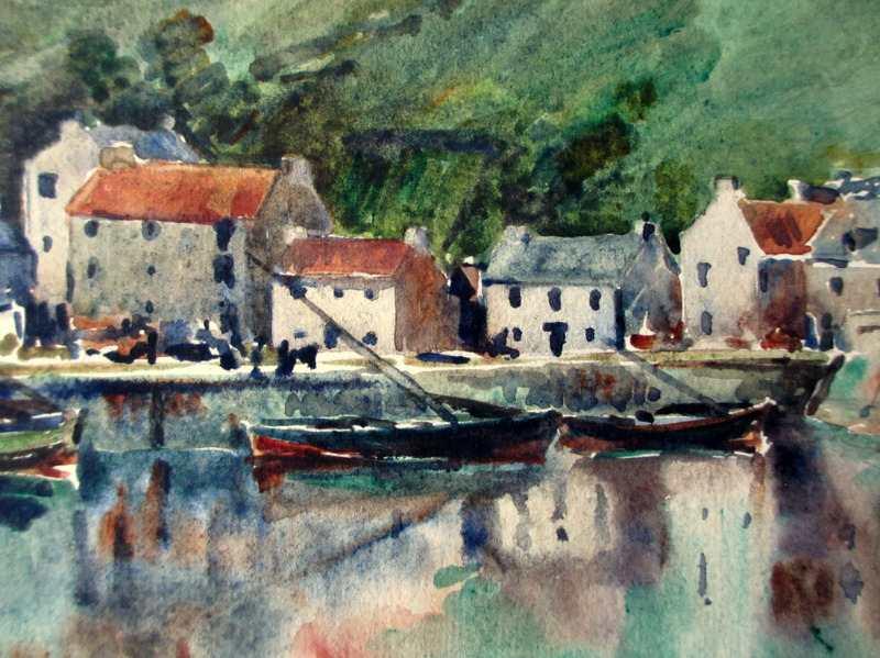 Scottish Harbour Study, watercolour, signed monogram MPT 1935. Detail.