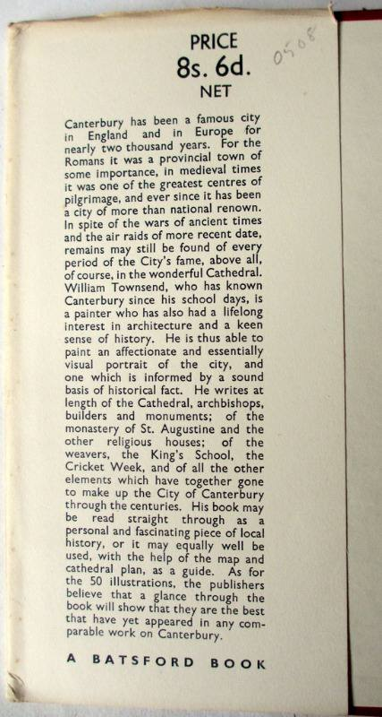 Canterbury by William Townsend 1950 1st Edn. DJ front fold.