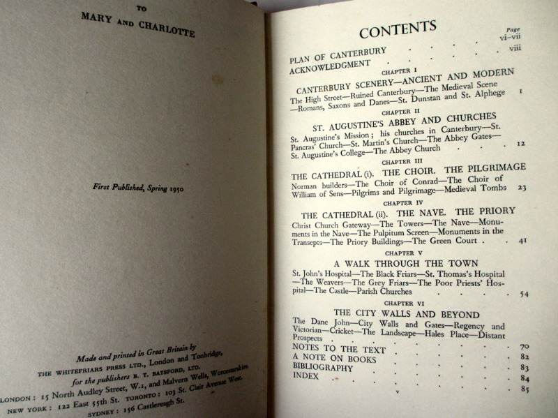 Canterbury by William Townsend 1950 1st Edn. Contents.