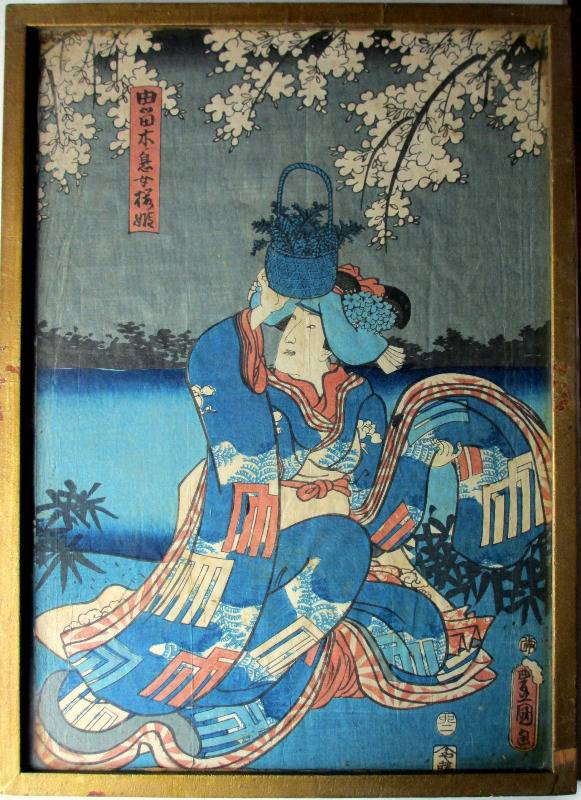 Ukiyo-e, original woodblock print, seal of Kunisada Utagawa c1830.