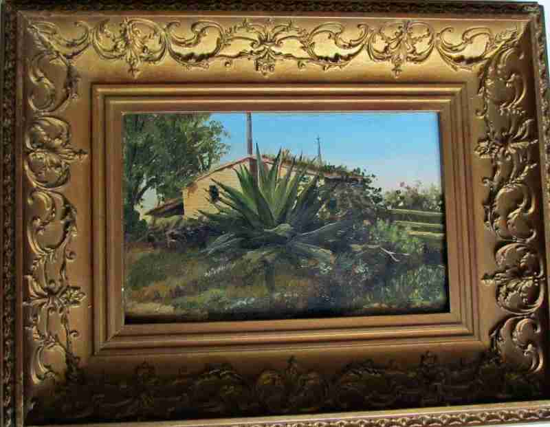 Spanish Yucca, oil on board, signed monogram J.E.R. c1920.